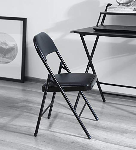 WOODWARE Opus Foldable Chair, Adjustable, Padded, Home Office Computer Desk (Work from Home) (Black)
