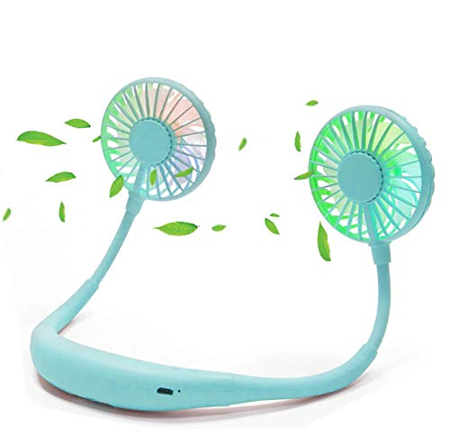 scurry Upgraded Version Portable Neck Fan, Color Changing LED, with Aromatherapy, 360° Free Rotation,and Lower Noise Strong Airflow Headphone Design for Sport, Office, Home, Outdoor (Blue)