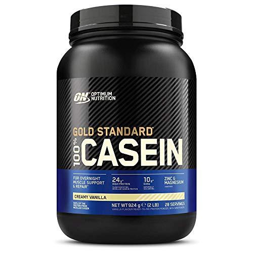 Optimum Nutrition Gold Standard Casein, Proteinas de Caseina en Polvo con BCAA Aminoacidos Esenciales, Zinc y Magnesio en Polvo, Vainilla, 28 Porciones, 0,9 kg, Embalaje Puede Variar 🔥