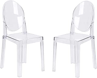LAFII.T Lot de 2 chaises de Salle à Manger Ghost - Transparent - Style Ghost - Amovible et Non empilable - Transparent