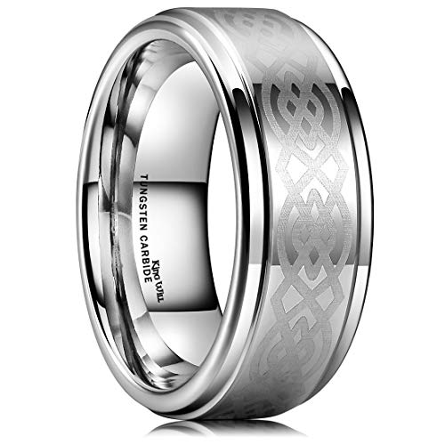 King Will 8mm Mens Tungsten Carbide Ring Laser Etched Celtic Knot Polish Edge Wedding Band(10)