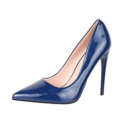 Elara Spitze Damen Pumps Stilettos High Heels Chunkyrayan B0-108 Blue 39