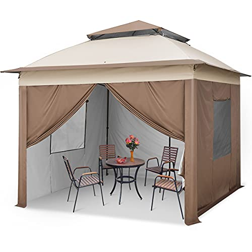 Quictent 11x11 Pop up Canopy Tent with 4 Sidewalls Instant Outdoor Gazebo Tent Shelter with Double Layer Roof and Wheeled Bag (Beige)