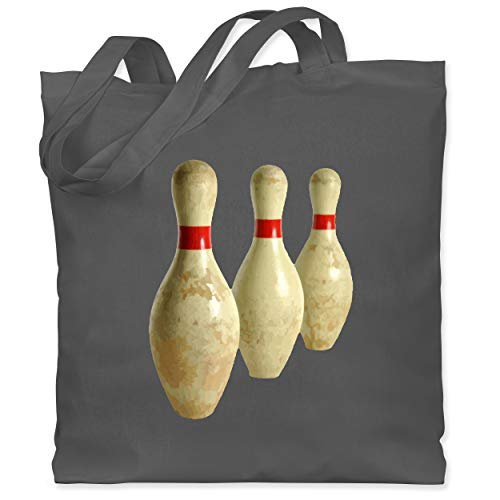 Shirtracer Bowling & Kegeln - Alte Pins Kegel Vintage - Unisize - Dunkelgrau - bowling kegel - WM101 - Stoffbeutel aus Baumwolle Jutebeutel lange Henkel