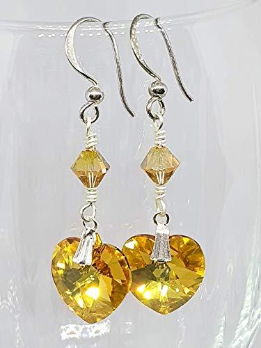 IohanaSchmuck Handmade Silber Ohrringe, Ohrclips mit Swarovski Herz Crystal Metallic Sunshine, eigene Herstellung