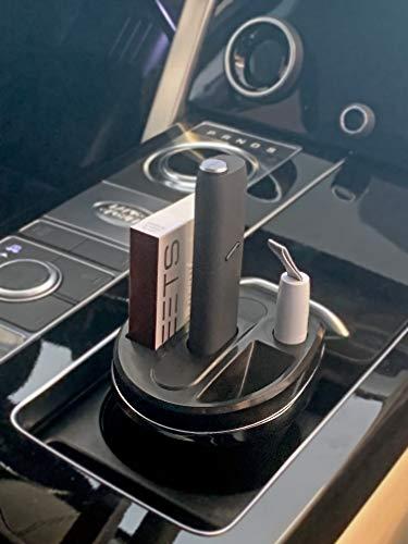 Cup Charger für IQOS® 3 Multi schwarz, Ladegerät für elektronische Zigarette IQOS® 3 Multi, mit Aschenbecher und Gehäuse für IQOS®-Reiniger, KFZ-Getränkehalter
