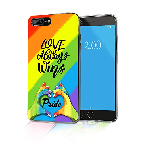 of price on iphone 7 plus dec 2021 theres one clear winner Cocomong Gay Phone Case Compatible with iPhone 8 Plus Case Gay Pride iPhone 7 Plus Case LGBT Gay Gifts for Men Women, Rainbow Love Always Wins Design Slim Clear Soft TPU Cover Silicone Protective 5.5