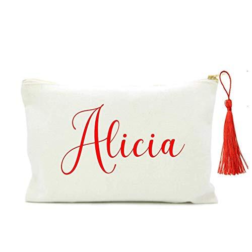 Didart Handmade Neceser personalizado Bolso Mujer en algodón blanco. Con borla y nombre en rojo. 2 TAMAÑOS. Regalo original para mujer
