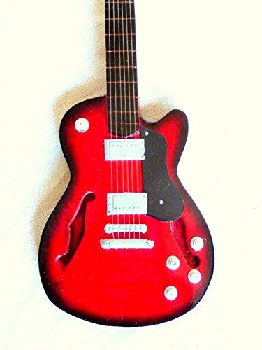 Guitarra en miniatura decorativa Guitarra Guitar Gibson verde 24cm mano de madera # 134