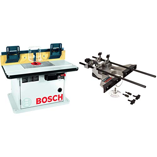 Bosch Cabinet Style Router Table RA1171 & Deluxe Router Edge Guide with Dust Extraction Hood & Vacuum Hose Adapter RA1054