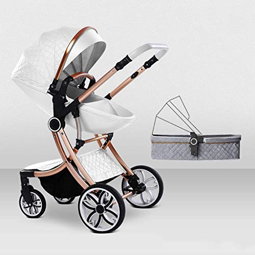 Great Features Of Cozy Baby Stroller Carriage Compact Pram Stroller (Color : Green) (Color : White)