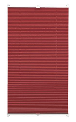 GARDINIA Plissee zum Klemmen, Blickdichtes Faltrollo, Alle Montage-Teile inklusive, EASYFIX Plissee verspannt mit zwei Bedienschienen, Bordeauxrot, 70 x 130 cm (BxH)