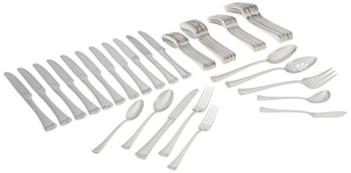 Lenox Portola 65-Piece Flatware Set, 10.00 LB, Metallic