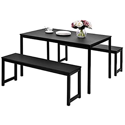 Black Dining Set with Bench,JULYFOX 3 Piece Modern Dining Room Tables and Chairs Set for 4-Metal and Wood Kitchen Table Set for Small Spaces - [3 Piece Dining Room Set]:The dinning room set include 1 rectangular dining tableand 2 bench chairs.You can create a fashion and warm interior dining nook with this modern 3 piece dining set for 4 to 6 people. [Space Saving Design]:The 2 bench chairs can be stored under the dining table,that is compact in design to accommodate small spaces.This dining room set can be used not only in dining room but also in office,bar,pub,restaurant and other business place for its minimalist look and excellent sunlight resistance. [Sturdy Kitchen Table]:This modern dining table and 2 bench chairs are all made of sturdy metal frame and wood top,sturdy and durable,waterproof and wear-resistance,for durability to last for years to come.The max weight capacity for the kitchen table is 220lb, and is 330lb for each bench chair. - kitchen-dining-room-furniture, kitchen-dining-room, dining-sets - 41 YpeiKjBL. SS400  -