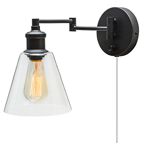 Globe Electric LeClair 1-Light Plug-In or Hardwire Industrial Wall Sconce, Dark Bronze Finish, On/Off Rotary Switch, 6ft Clear Cord, Clear Glass Shade 65311