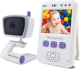 Baby Monitor with Camera and Audio by Moonybaby, Long Battery Life, Long Range, Non-WiFi, Color Screen, Auto Night Vision, 2 Way Talk Back, Zoom in, Power Saving and VOX, Voice Activation