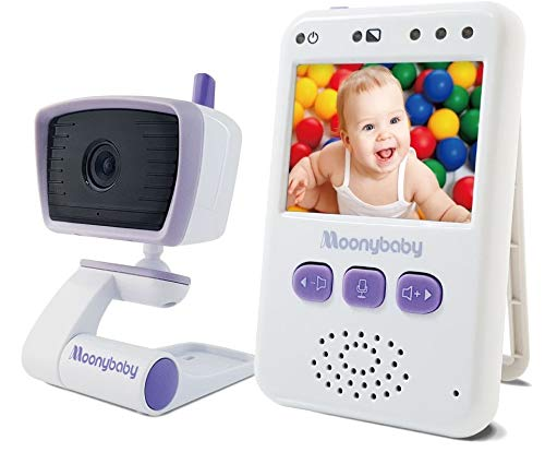 Moonybaby Value 100 Video Baby Monitor/Elderly Monitor for Caregiver with Camera and Audio, Long Range, Non-WiFi, Auto Night Vision, 2 Way Talk Back, Zoom in, Power Saving and VOX, Voice Activation