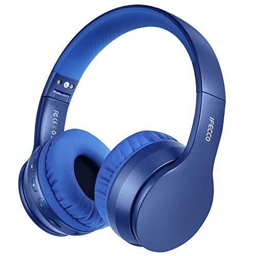Ifecco Auriculares inalámbricos Bluetooth Estéreo Música Sobre-oído Sonido de alta fidelidad, Bluetooth Banda para la cabeza plegable con micrófono y cable de audio para Apple iPhone, PC(azul)