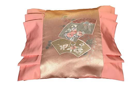 Funda de cojín japonés, hecha a mano, de seda, con bonito bordado japonés, funda de almohada decorativa, decoración para coche, sofá, cama, casa, oficina, diseño: abanico