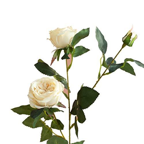 GCX Natural Falsa luz de la Flor de Lujo Retro Falsa simulación Flor de Rose de la Sala Comedor del florero decoración de la Tabla Calentar (Color : E)