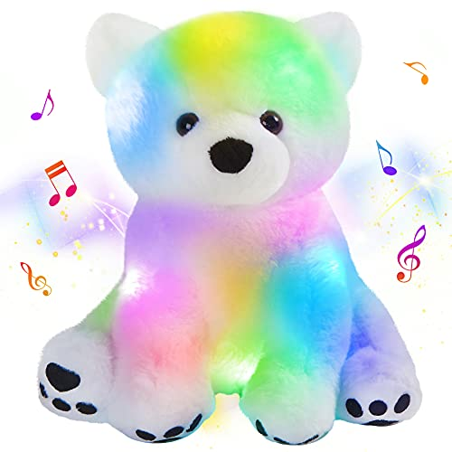 Houwsbaby Musical LED Stuffed Polar Bear Floppy Singing Adorable Plush Light up Toy Light Glowing Lullaby Animated Soothe Birthday for Kids Toddler Girls, White, 11.8''