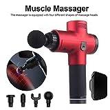 Pistolet de massage Neborn - Électronique - 3 vitesses - Détente musculaire - Pour le corps - Particulièrement silencieux - Avec 5 têtes de massage différentes, rouge