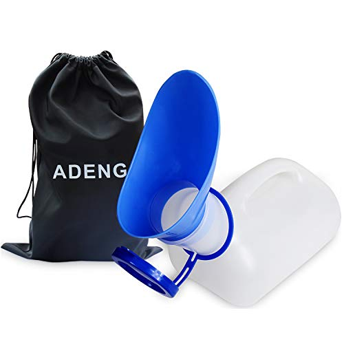 ADENG Unisex Urinal Bottle for Men and Women, Pee Bottle with Lid and Funnel, Travel Urinal Kit for Camping Outdoor, with a Carry Bag