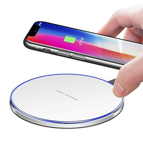 Slick-Prints Round White Universal Qi Enabled Slim 10W Output Wireless Power Desktop Charging Pad with Led Light and Ultra-Thin Qi Receiver Module Chip for Elephone S2 Plus