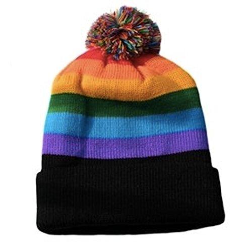 Ski Cap Short Pom Pom Rainbow Black Brim Winter Cap. LGBT Gay & Lesbian Pride Hat (Rainbow w/ short pom pom)