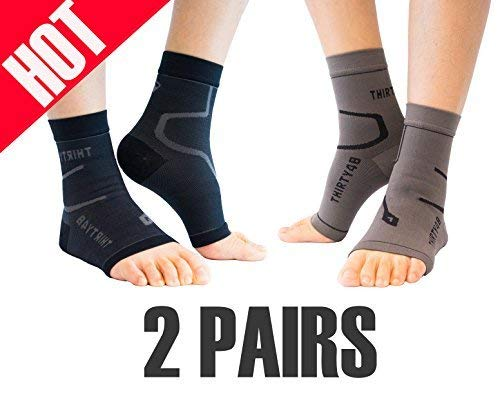 Thirty48 Plantar Fasciitis Socks, 20-30 mmHg Foot Compression Sleeves for Ankle/Heel Support, Increase Blood Circulation, Relieve Arch Pain, Reduce Foot Swelling (Black & Grey (2 Pairs), Medium)