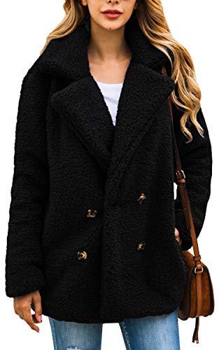 ECOWISH Damen Mantel Casual Revers Fleece Fuzzy Faux Shearling Reißverschluss Warm Winter Oversize Outwear Jacken,Schwarz, EU XL(42)