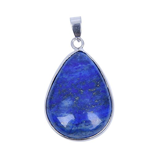 SODIAL(R)collar de lapislazuli piedra preciosa 1.42x1.02 pulgada muy popular