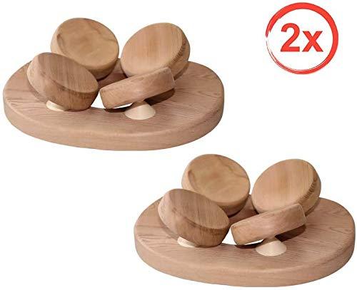 SudoreWell Sauna Kopfstütze mit 4-Punkt Kopfauflage aus Red Cedar Holz - 2 Stück