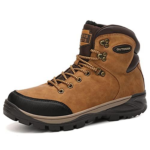 Hombre Botas Invierno Botines Zapatos Botas De Nieve Cálido Fur Forro Aire Libre Boots,Amarillo,45 EU