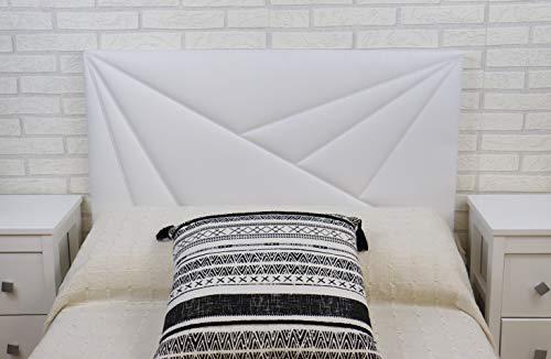 TEXFYNO Cabecero Cama Fabricado con Polipiel y Acolchado Bordado geométrico-CA124 (135 * 55cm, Blanco)