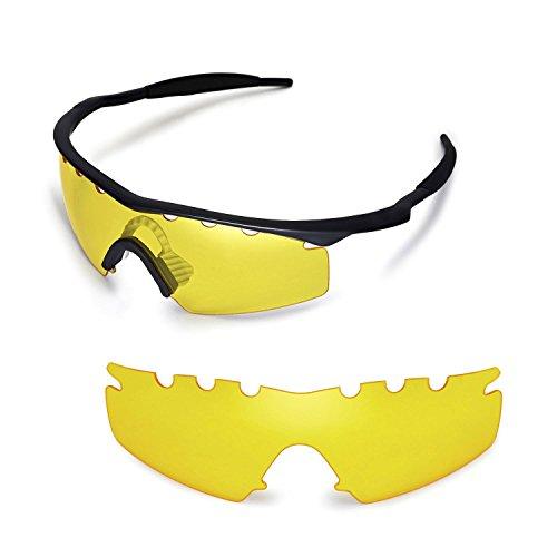 Walleva Entlüftete Ersatzgläser für Oakley M Frame Strike Sonnenbrille - Mehrfache Optionen (Gelb)