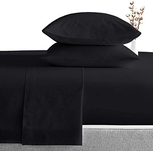 Exclusive Sheets - 4 Piece Sheet Set 16' (40cm Deep Corners) - Long Staple 1000 Thread Counts 100% Egyptian Cotton (Euro Small Single Size, Black Solid)
