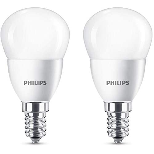 Philips Lighting Lampadine LED Sfera, Attacco E14, 5.5 W Equivalenti a 40 W, 2700 K, Luce Bianca Calda, 2 Pezzi, [Classe di efficienza energetica A+]