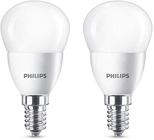 Philips Lighting Lampadine LED Sfera, Attacco E14, 5.5 W Equivalenti a 40 W, 2700 K, Luce Bianca Calda, 2 Pezzi
