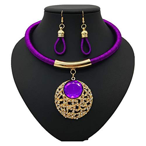 Collar delicado para mujer Mujeres África Tribe Collar Collar de cadena de clavícula - Punk Rock Gothic O-Ring Gargantilla - Ajustable Cintura Cintura Cinturón Arnés Cuerpo Joyería ( Color : Purple )
