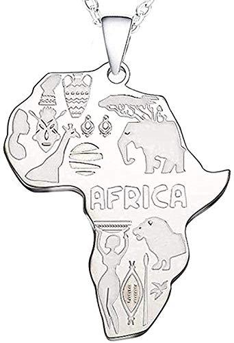 Yiffshunl Collar de Mujer, Collar con Colgante de Mapa de África para Mujeres, Hombres, Collar de joyería etíope, Regalo