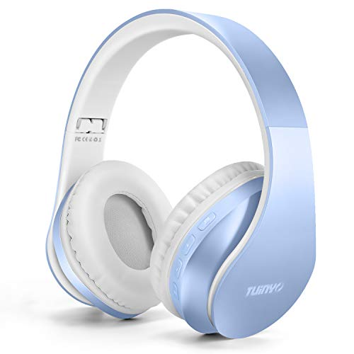 Bluetooth Headphones,Tuinyo Wireless Headphones Over Ear with Microphone, Foldable & Lightweight Stereo Wireless Headset for Travel Work TV PC Cellphone-Light Blue