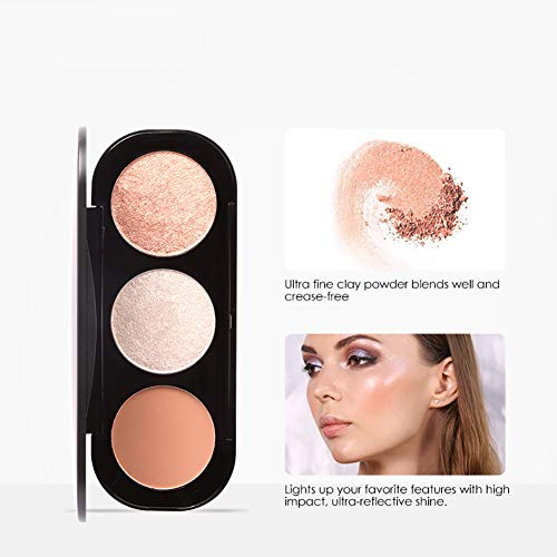 1 Establezca 3 colores Highlighter Palette Polvos Prensados Professional Polvo Compacto base de maquillaje en polvo La mejor paleta de contorno y corrector cremoso con crema lisa pigmentada (2)