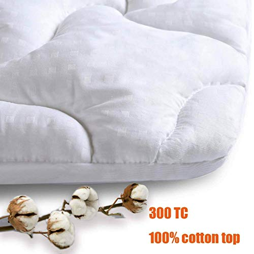 INGALIK Mattress Pad Queen Size Fitted Mattress Topper Cotton Top Pillow Top Quilted 8-21Inch Deep Pocket Down Alternative Cooling Mattress Pad Cover