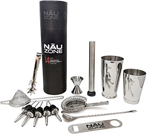 Professional Bartender Kit (14-Piece) | Bartending Kit with Bottom Weighted Stainless Steel Drink Shakers - Premium Bar Set | Deluxe Gift Packaging