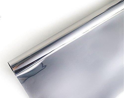 Ommda Fensterfolie Statisch Haftend Sonnenschutz Fensterfolie Blickdicht Von Aussen 85% UV-Schutz Silber 60x200cm