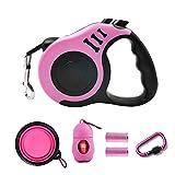 PETIMP STORE Pink Retractable Dog Leash 16ft with Dog Waste Bag Dispenser Dog Bowl for Small Medium Dog (6 PCs) (Pink)