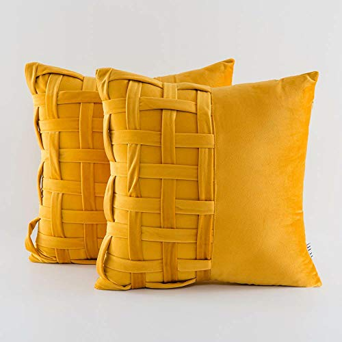 Soft Velvet Cushion Covers, Unique Decorative basket Weave Design for Home Sofa Bed 45x45cm 18x18 Inch set of 2 (Mustard Yellow, 40x40cm)