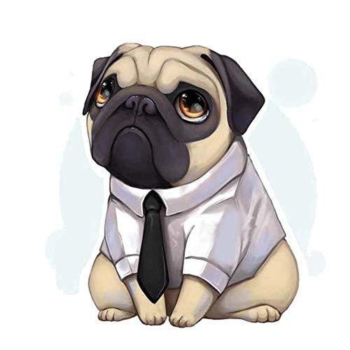CTMNB autosticker 13,6 cm * 13,7 cm een hond, die een overhemd draagt, heeft een dasspeld PVC-stickers