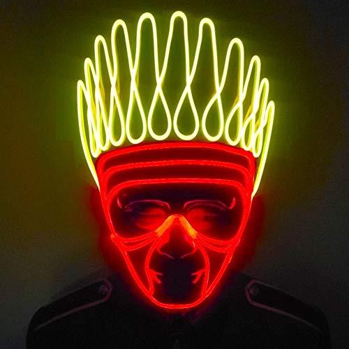 Qikc 発光マスク蛍光ダンスクリエイティブコールドライト雰囲気小道具ステージELパフォーマンス衣類ゴーストキングハロウィンメイクアップストリートダンス Qikc